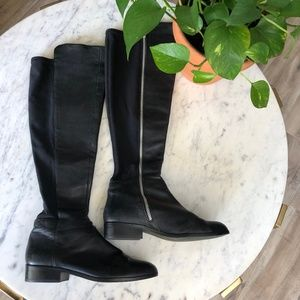 MICHAEL KORS Black Leather Riding Bromley OTK Boot